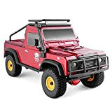 RGT RC Crawler 1:16 4wd RC Car Metal Gear Off Road Truck RC Rock Crawler 136161 Hobby Crawler RTR 4x4 Waterproof RC Toy (Red)