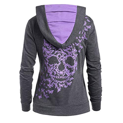 TEBAISE Kapuzenpullover Damen 3D Totenkopf Print Hoodie Langarm Pullover 2020 Skull Gedruckt Langarm Hoodie Sweatshirt mit Kapuze Schwarz Grau Dunkel grau S-5XL