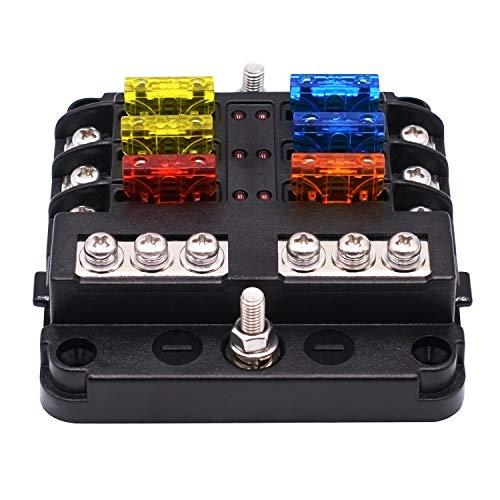 KKmoon 6 Fach Sicherungshalter Box Sicherungskasten mit LED Anzeige Schutzabdeckung DC 12-32V für Auto Boot Van LKW