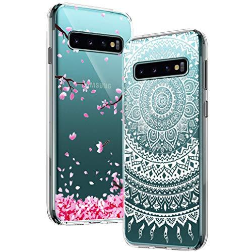 [2-Pack] Yoowei Cover per Samsung Galaxy S10 Trasparente con Disegni, Morbida Silicone Ultra Sottile TPU Gel Custodia Protettiva Compatibile con Samsung Galaxy S10 - Fiore di Ciliegio & Mandala Bianca