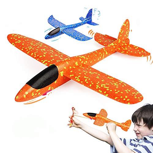 VCOSTORE Avión Planeador de Espuma de eyección, actualización 2 Modo de Vuelo EEP Avión de inercia Manual Avión Duradero para niños Juguetes Deportivos al Aire Libre o Regalo 2 Piezas