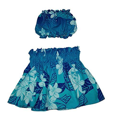 夏威夷小孩女孩Pa'u Hula裙带顶部,夏威夷花卉呼啦舞裙连衣裙1至4年的小孩女孩(蓝色)