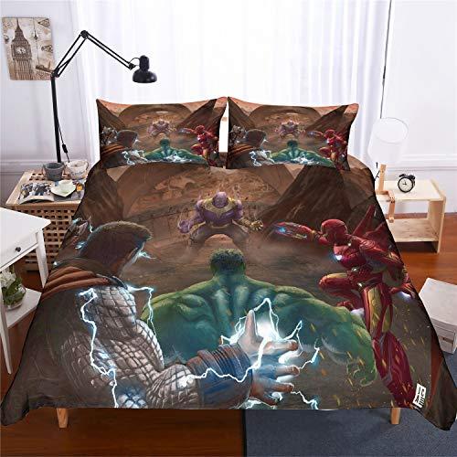 Nichiyo DC Comics Marvel Comics - Juego de funda de edredón y funda de almohada (microfibra, estampado digital 3D), 02, King 220*240cm