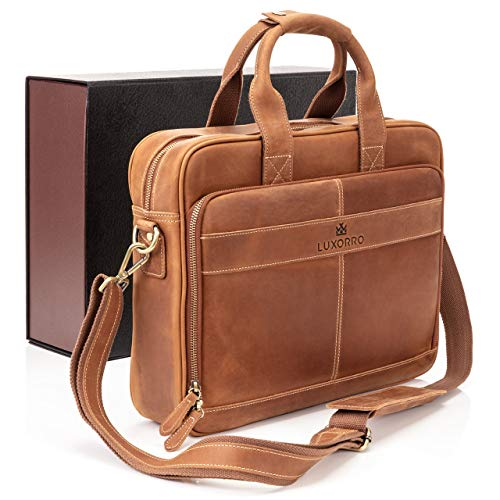 Luxorro Leather Briefcases For Men | Soft, Full Grain Leather Laptop Bag For Men W/hand Stitching That Will Last A Lifetime | Slim But Spacious | Fits 15.6-inch Laptops, Light Brown