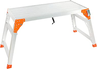 Adjustable Work Platform with 330 lb Duty Rating, Aluminum Folding Step Ladder, Heavy Duty Portable Bench Ladder Stool with N