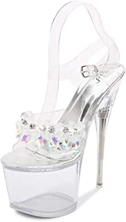 Clear Sandals Women'S Transparent Open Toe Sandals,Perspex Platform Sandals Party Shoes for Wedding,Party,Prom Shoes
