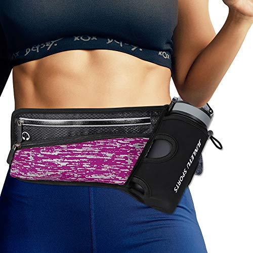 Running Belt Hydration Waist Pack with Water Bottle Holder for Men Women Waist Pouch Fanny Bag Reflective Ultra Light Bounce Free Waist Pouch Sport Waist Pack Exercise Waist Bag (Rose Red)