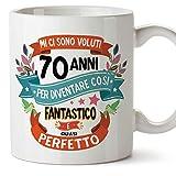 MUGFFINS Tazza Compleanno 70 Anni - Idee Regali Originali et Divertenti per Uomo e Donna - per lui/per lei. Ceramica 350 mL