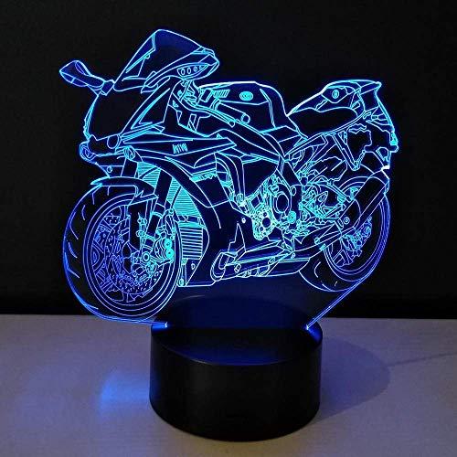 3D Slide LED Night Light Motocicleta Bombilla Juguete que cambia de color Lámpara de mesa Tablero de metacrilato Niños Guacamayo Niños Cumpleaños Regalo de Navidad