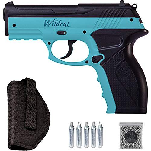 Wildcat Blue C11 | Pistola Crosman de balines BB's de Acero 4.5mm por Aire comprimido (CO2) + pistolera Holster + munición