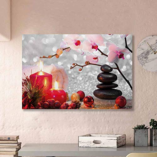 Spa Large Party Logo Men and Women Decoration No Frame Winter Christmas Themed with Pink Orchid Stone and Red Candles Image from Daughter Red Pink Black and White L36 x H24 Inch