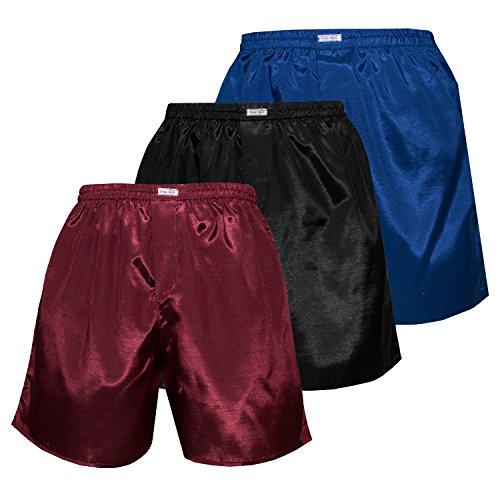 3er Mischen Herren Comfort Nachtwäsche Unterwäsche Thai Silk Boxershorts (M, Blauer Schwarzer Burgunderfarben)