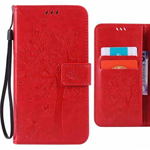 Custodia per Huawei P8 Lite (Huawei ALE-L21) Cover, Ougger Alberi Gatto Portafoglio PU Pelle Magnetico Stand Morbido Silicone Flip Protettivo Gomma Borsa Custodie con Slot per Schede (Rosso)
