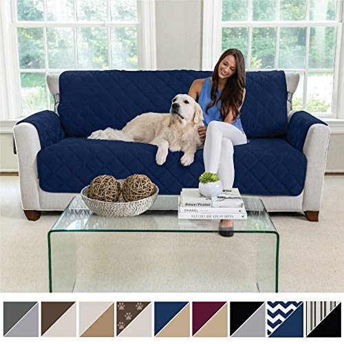 MIGHTY MONKEY Premium Reversible Large Sofa Protector for Seat Width up to 70 Inch, Furniture Slipcover, 2 Inch Strap, Couch Slip Cover Throw for Pets, Dogs, Kids, Cats, Sofa, Navy Tan