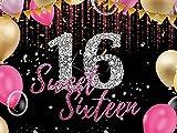 Fondo para fiesta de cumpleaños de 16 para niña, diseño de diamantes, 16 unidades, color rosa, dorado, decoración de fiesta de cumpleaños, 2 x 1,5 m, W-5372