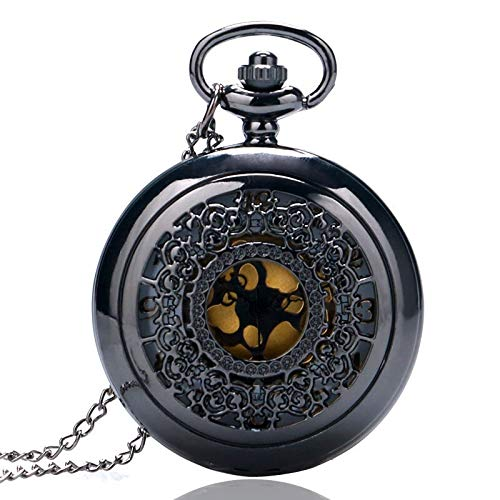 Shop-PEJ Old Pendant Hollow Exquisite Grilles Elegant Retro Gift Men Women Pocket Watch with Silver Quartz Necklace Chain Pocketwatch for Husband on Anniversary (Color : D)