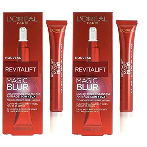 L\'Oréal Revitalift Laser X3/Revitalift Magic B.L.U.R.- Pack de 2productos: 1crema de día antiedad con ácido hialurónico + 1 tratamiento antiedad para los ojos + alisador de arrugas instantáneo