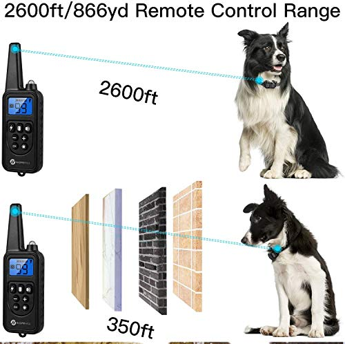 Slopehill Dog Training Collar with Beep, Vibration, Shock and Light Training Modes, Rechargeable Dog Shock Collar with 2600 Feet Remote Range, Waterproof, Adjustable