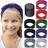 ShameOnJane 8 pack of Colorful Headbands for Girls, Girls Headbands - Removable Bow - Cute Hair Accessories for Girls with 10 Extra Hair Elastics (Bow)