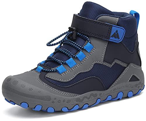 Mishansha Kinder Trekkingschuhe Mädchen Jungen Wanderschuhe Halbschuhe High Top Sneaker Outdoor rutschfest Wanderstiefel Sport Walking Kinderschuhe, Blau 32 EU