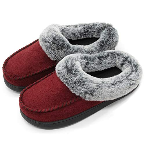 ULTRAIDEAS Women's Comfort Micro Suede Memory Foam Slippers Non Skid House Shoes w/Faux Fur Collar (Medium / 7-8 B(M) US, Burgundy)