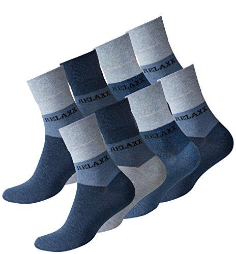 VCA 8 Paar Herren Kurzsocken RELAXX Quarter Socks ohne Gummib& - Cottonprime (Jeansblue)