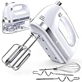 Hand Mixer Electric, 400W Ultra Power Kitchen Mixer Handheld Mixer With 2x5 Speed (Turbo Boost & Automatic Speed) + Storage Box + 5 Stainless Steel Accessories Food Mixer for Cream, Cake