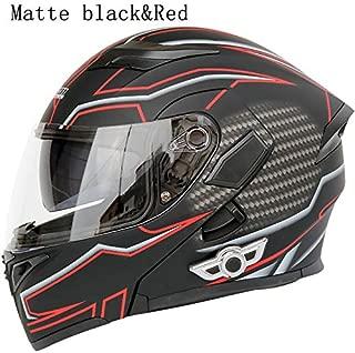 MOPHOTO Bluetooth Integrated Motorcycle Helmets, Anti-Glare Full Face Flip up Dual Visors Modular Bike Motorcross Helmets Intercom Helmet/Rider to Rider, Large (59-60cm)