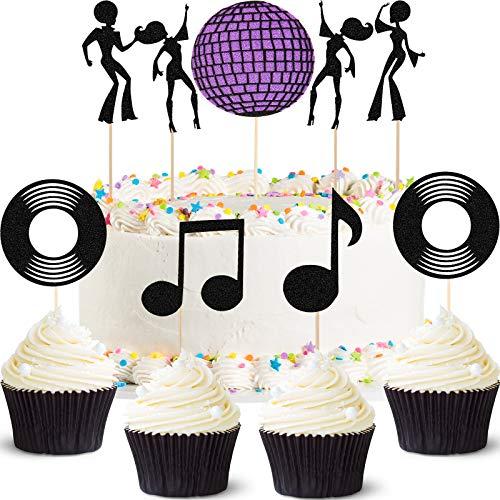49 Piezas Topper de Magdalena de Discoteca de 70s Decoración de Pastel de Baile Disco de los 70 para Decoración de Tarta de Fiesta de Cumpleaños de Bola de Discoteca
