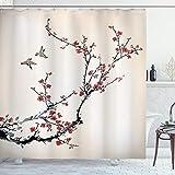 ABAKUHAUS Blumen Duschvorhang, Asiatische Art Art Vögel, mit 12 Ringe Set Wasserdicht Stielvoll Modern Farbfest & Schimmel Resistent, 175x180 cm, Bordeauxrot Schwarz