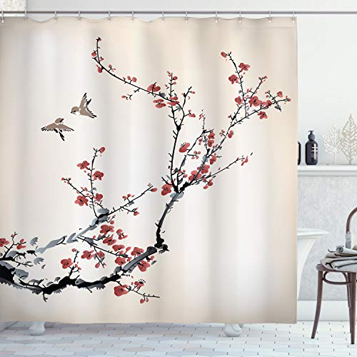 Cherry Branches Flowers Buds and Birds Shower Curtain