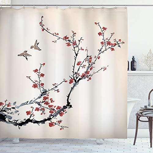 ABAKUHAUS Duschvorhang, Kirschblüten Blumen Knospen & Vögel Asiatische Art Grafik mit Malerei Druck Creme, Blickdicht aus Stoff inkl. 12 Ringen Umweltfre&lich Waschbar, 175 X 200 cm