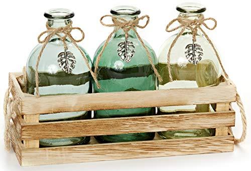HEITMANN DECO Holzkiste mit 3 Glasvasen - Tischdeko - Vasen-Set in Deko-Kiste - Blumenvase mit Juteseil - Frühlingsdeko - Grün