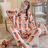 STJDM Bata de Noche,Autumn Winter Women's Cute Fruit Print Flannel Pajama Sets Candy Colors Thicken Flowers Pyjamas Set Floral Sleepwear Loungewear M 006