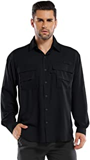 Aiegernle Men's Outdoor Quick Dry Nylon Breathable Hiking Fishing Shirt with Short Sleeve