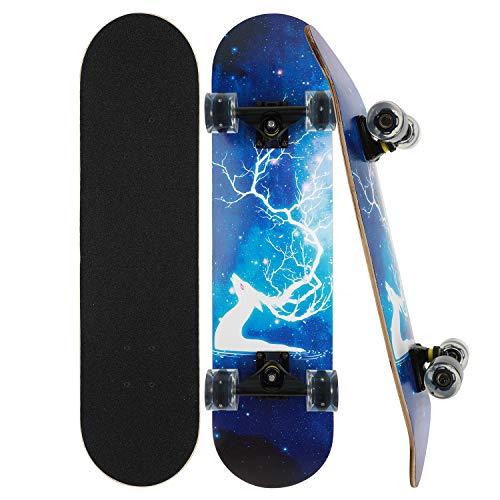 CLYCTIP Skateboard Komplett Board 79x20cm Holzboard ABEC-7 Kugellager 31 Zoll 7-lagigem Ahornholz, 85A Blinkende Rollen für Anfänger Kinder Jugendliche und Erwachsene (Blitz)