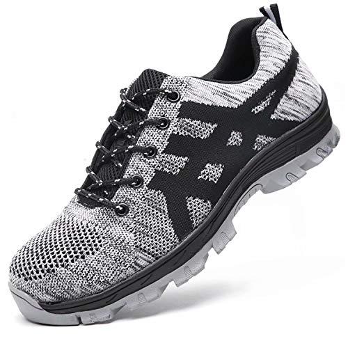 tqgold® Sicherheitsschuhe Herren Damen S3 Arbeitsschuhe Leicht Sportlich Sneaker Schutzschuhe mit Stahlkappe Grau Größe 44