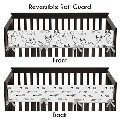 Grey, Black and White Fox and Arrow Long Front Rail Guard Baby Teething Cover Crib Protector Wrap