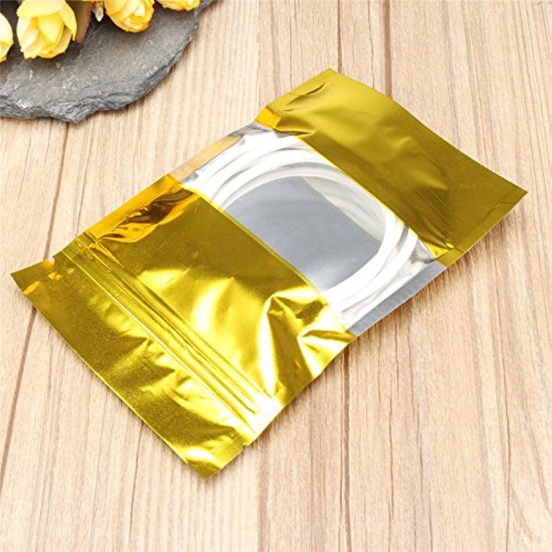 小さなリファイン画面100個ゴールドアルミ箔スタンドUpバッグZipロックMylar Pouches withウィンドウ食品グレード