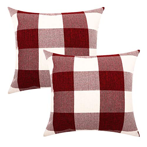Lewondr Checkered Cushion Cover, 2 PACK Breathable Wrinkle-resistant Linen Throw Pillow Case Protector Plaid Cushion Cover Home Christmas Decor 18 x 18 Inch - Red&White