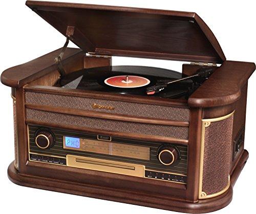 Roadstar HIF-1996BT - Giradiscos vintage (encoding, 2 x 2.5 W RMS, pantalla LED, 35/45/78 rpm, FM), color marrón