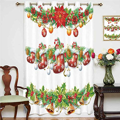 Christmas Blackout Patio Door Curtains Traditional Garland Designs with Flowers Socks and Bells Mistletoe Candy Grommets Panels Printed Curtains ,Single Panel 52x84 inch,for Kid's RoomOrange Red Green