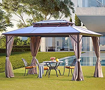 YOLENY 10 x13  Outdoor Polycarbonate Double Roof Hardtop Gazebo Canopy Curtains Aluminum Frame with Netting for Garden,Patio