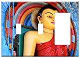 3-Gang 2-Toggle 1-Rocker/GFCI Combination Wall Plate Cover - Buddha Religion Sri Lanka Exotica Symbol Colorful