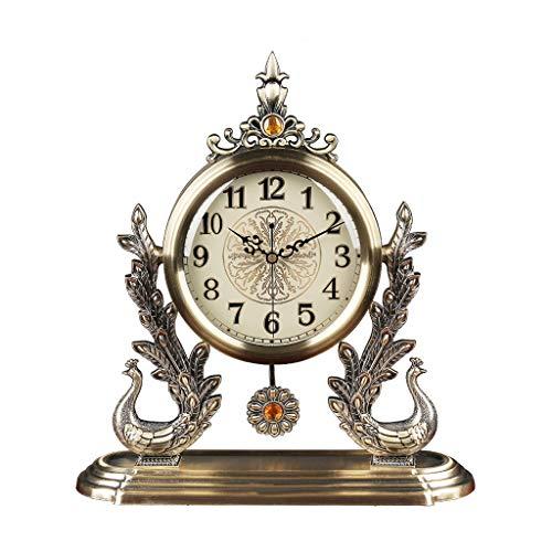 xiaodou Reloj de Mesa Reloj de Mesa con péndulo Estilo Europeo Luz de Lujo Mesa de Metal Reloj Sala de Estar Silencio Mesa Adornos Reloj de Pavo Real Decoración de Asiento Reloj Reloj Mesa