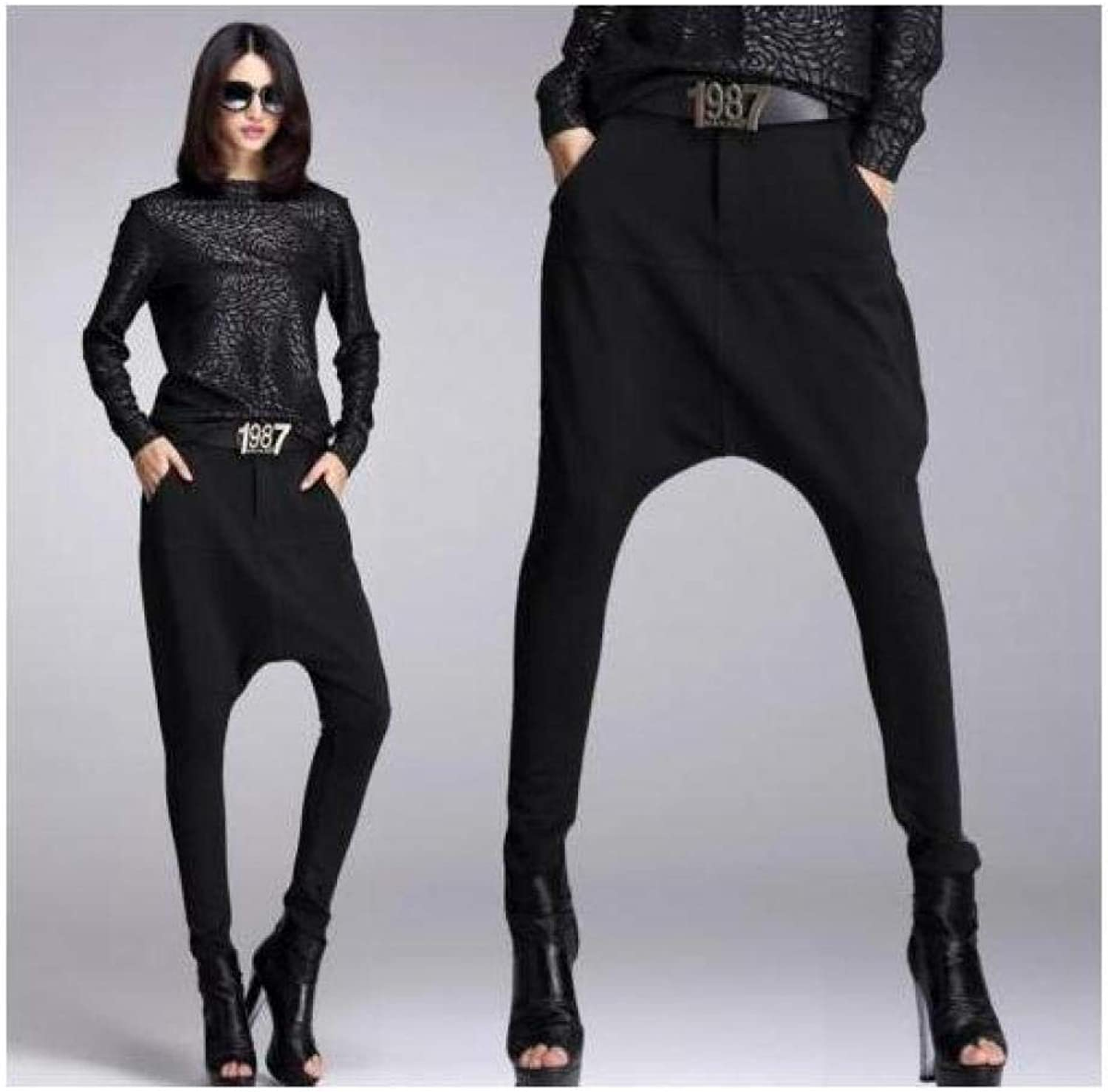 FidgetFidget Pants Casual Pencil Women's Black Harem Clubwear Dancing Trousers Elastic Q4015