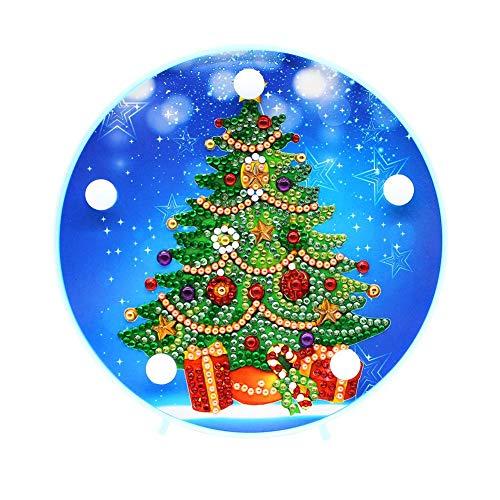 Domybest Weihnachtsbaum DIY 5D Diamond Painting Komplett mit LED-Lampe warmweiß Nachtlicht Kinder Tischlampe batteriebetrieben dekorative Lampe für Schlafzimmer Wohnzimmer