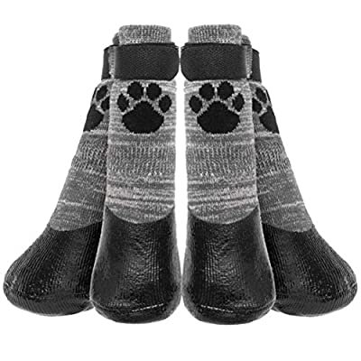 KOOLTAIL Anti Slip Dog Socks - Outdoor Dog Boots WaterproofDog Shoes Paw Protector with Strap Traction Control for Hardwood Floors - Grey Small