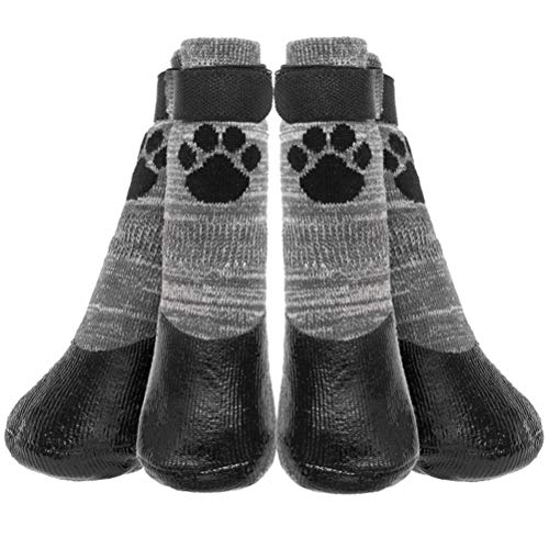 KOOLTAIL Anti Slip Dog Socks - Outdoor Dog Boots Waterproof Dog Shoes Paw Protector with Strap Traction Control for Hardwood Floors