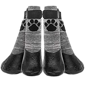 KOOLTAIL Anti Slip Dog Socks – Outdoor Dog Boots Waterproof Dog Shoes Paw Protector with Strap Traction Control for Hardwood Floors